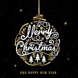 Merry Christmas, happy new year, logo & symbol design, vector il. Lustration royalty free illustration