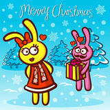 Merry Christmas and Happy New Year Love Rabbits Stock Image