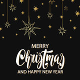 Merry Christmas and Happy New Year luxury background with golden stars . Greeting card, invitation, flyer. Merry Christmas and Happy New Year luxury background stock illustration