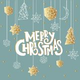 Merry Christmas and Happy New Year luxury background with golden stars, noel, moon in geometric style. Merry Christmas and Happy New Year luxury background with vector illustration