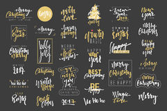 Merry Christmas, Happy New Year 2017 luxury calligraphy emblems set. Merry Christmas and Happy New Year 2017 luxury calligraphy emblems set. New golden Royalty Free Stock Photo
