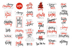 Merry Christmas and Happy New Year 2017 luxury calligraphy emblems set. New red inscriptions holidays, vector logo, text design. Usable for banners, greeting Stock Photos