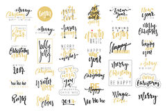 Merry Christmas, Happy New Year 2017 luxury calligraphy emblems set. Stock Images