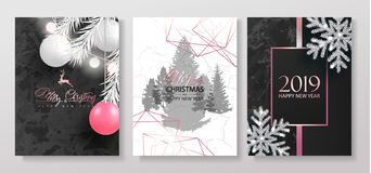 2019 Merry Christmas and Happy New Year Luxury cards collection with marble texture, Christmas balls, garland, shiny snowflakes an. D pink gradient shapes.Vector stock illustration