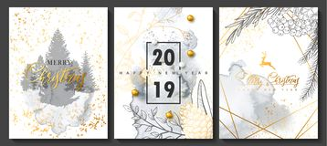 2019 Merry Christmas and Happy New Year Luxury cards collection with watercolor texture and Golden geometric shape. Vector trendy background royalty free illustration