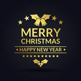 Merry christmas and happy new year luxury design black background stock illustration