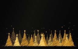 Merry Christmas. happy new year. Luxury gold christmas tree with stars and sparkles background royalty free illustration