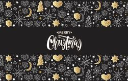 Merry Christmas and Happy New Year luxury gold seamless pattern with stars, balls, noel, heart. Stock Photography