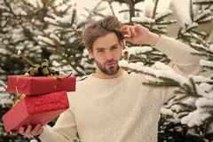 Merry Christmas and happy new year. Man holding two red boxes in snow wood. Season greetings and xmas gifts. Macho with presents on winter day. Holidays stock images