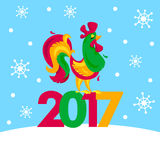 Merry Christmas and happy New Year memory card. Vector congratulation design. Rooster, cock portrait cartoon Royalty Free Stock Images