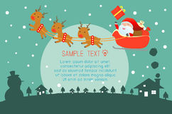 Merry Christmas, Happy new year, Merry Christmas design with wide copy space, Santa Claus. Card, background card greeting, Vector Illustration Stock Photos