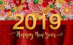 Merry Christmas And Happy New Year 2019. Background beautiful flower paper cut art and craft style on color Background vector illustration