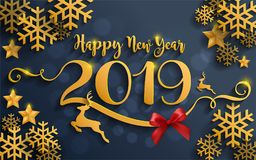 Merry Christmas And Happy New Year 2019. Background beautiful flower paper cut art and craft style on color Background stock illustration