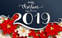 Merry Christmas And Happy New Year 2019. Merry Christmas And Happy New Year 2019 Background beautiful flower paper cut art and craft style on color Background vector illustration