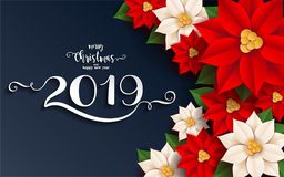 Merry Christmas And Happy New Year 2019. Merry Christmas And Happy New Year 2019 Background beautiful flower paper cut art and craft style on color Background stock illustration