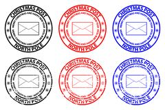 Merry Christmas and happy new year. Christmas Post - North Pole - envelope rubber stamp - sticker - vector - black, red, blue royalty free illustration