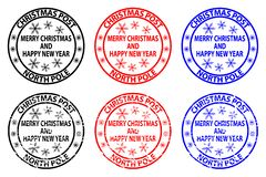 Merry Christmas and happy new year. Christmas Post, North Pole, rubber stamp, sticker, vector, black, red, blue stock illustration