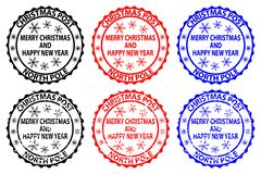 Merry Christmas and happy new year. Christmas Post - North Pole - rubber stamp - sticker - vector - black, red, blue royalty free illustration
