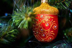 Merry Christmas and Happy New Year. Christmas tree decoration closeup Royalty Free Stock Image