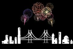 Merry Christmas & Happy New Year. Design fireworks in the city Royalty Free Stock Image