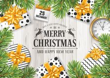 Merry Christmas and Happy New Year. Festive design. Gift boxes and other holiday objects on rustic wooden background and under the spruce branches. Vector Stock Images