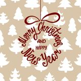 Merry Christmas and Happy New Year. Handdrawn inscription for greeting card or invitation. Round hand written lettering in ball shape. Winter seamless pattern Royalty Free Stock Photos