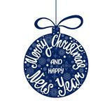 Merry Christmas and Happy New Year. Handdrawn inscription for greeting card or invitation. Round hand written lettering in ball shape. Holiday design Royalty Free Stock Photography