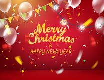 Merry Christmas and Happy New Year. Red illuminated room with balloons and flags and garland and color confetti stock illustration