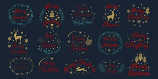Merry Christmas. Happy New Year.Typography set. Vector emblems, text design. Usable for banners, greeting cards, gifts. Merry Christmas. Happy New Year royalty free illustration