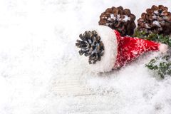 Merry Christmas and Happy New Year. Winter season. Decoration on snow Stock Photos