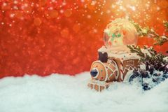 Merry Christmas and Happy New Year. Winter season. Decoration on snow Stock Photo