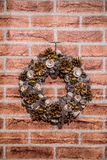 Merry Christmas and Happy New Year. Winter season. Decoration on wall Royalty Free Stock Image