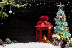 Merry Christmas and Happy New Year. Winter season with snow and copy space for text Stock Photo