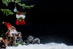 Merry Christmas and Happy New Year. Winter season with snow and copy space for text Royalty Free Stock Photos