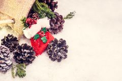 Merry Christmas and Happy New Year. Winter season with snow and copy space for text Stock Photography