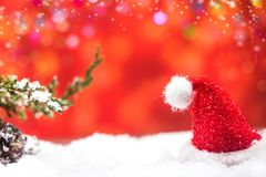 Merry Christmas and Happy New Year. Winter season with snow and decoration.  Copy space for text with blur background Royalty Free Stock Photography