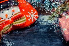 Merry Christmas and Happy New Year. Winter season on wood background with copy space for text Royalty Free Stock Photography