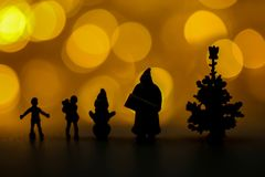Merry christmas and happy new year Miniature People : Children w royalty free stock photo