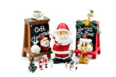 Merry christmas and happy new year Miniature People : Children w stock image