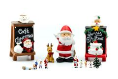 Merry christmas and happy new year Miniature People : Children w stock photo
