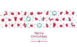 Merry Christmas and happy new year, minimal, vintage, decoration vector illustration