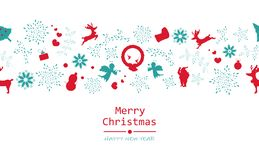 Merry Christmas and happy new year, minimal, vintage, seamless p stock illustration