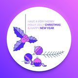 Merry Christmas and Happy New Year. Christmas mistletoe in blue. Merry Christmas and Happy New Year. Christmas mistletoe and ornaments stock illustration