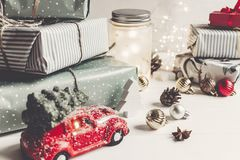 Merry christmas and happy new year. modern presents, ornaments, Royalty Free Stock Photography
