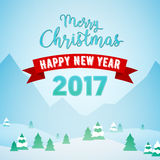 Merry Christmas and Happy New Year Mountains Snowfall Landscape with Trees. Winter Holidays Greeting Card Royalty Free Stock Images