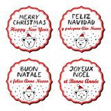 Merry Christmas and Happy New Year multilingual polar bear badges Stock Images