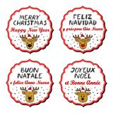 Merry Christmas and Happy New Year multilingual reindeer badges Royalty Free Stock Photos