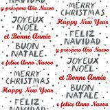 Merry Christmas and Happy New Year multilingual seamless pattern on white Stock Images