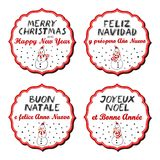 Merry Christmas and Happy New Year multilingual snowmen badges Royalty Free Stock Photos