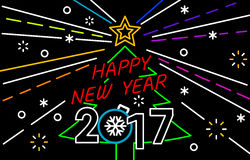 Merry Christmas and Happy New Year Neon Background. Happy New Year and Merry Christmas Neon Background royalty free illustration